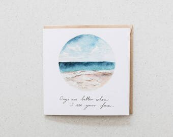 Days are better - blank watercolour greeting card - recycled, 125mm square - with kraft envelope