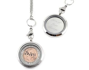 Personalised Engraved Lucky Penny and birthstone with Stainless Steel Memory Floating Locket Necklace
