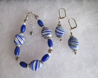Blue, Brown and White Striped Ceramic and Silver Bracelet & Earring Set