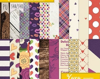XOXO patterned papers