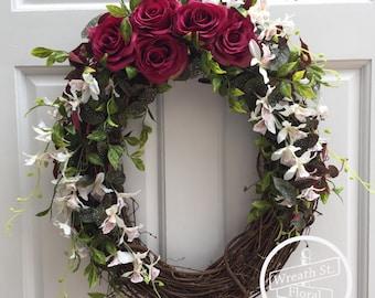 Summer Wreath, Rose Wreath, Orchid Wreath, Wreath Street Floral, All Occasion Wreath, Grapevine Wreath, Everyday Wreath, Front Door Wreath