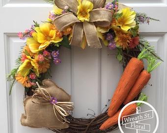 Spring Wreath, Easter Wreath, Bunny Wreath, Burlap Wreath, Yellow Orange Wreath, Wreath Street Floral, Front Door Wreath, Farmhouse Wreath