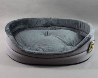 Oval cozy pet bed, gray pet bedding, dog, cat bed
