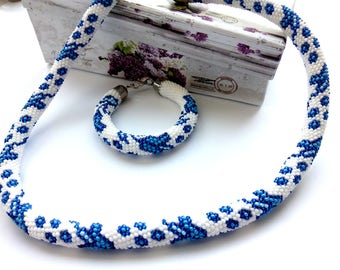Gzhel jewelry Russian ethnic ornament white blue jewelry set for her delicate blue flower crochet
