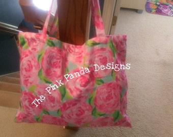 Lilly pulitzer bag, tote bag, first impression pink, yellow, lobstah roll, let's cha cha, trippin sippin, purse