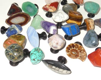 Set of 36 Assorted STONE CABINET KNOBS - Gemstone Pulls - Home Decor