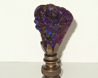 Purple TITANIUM DRUSY Lamp Finial - Drusy Stone Lamp Finial - Home Décor