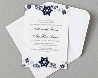 Winter Wonderland Snowflakes Invite, RSVP, Information card Personalised