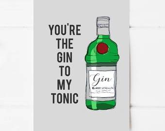 You're The Gin To My Tonic Postcard Print