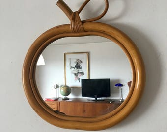 Mirror Apple rattan wicker vintage 1970