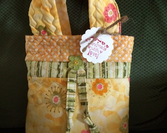 Tiny tote/ bag/ wallet/ floral/spring/bookbag/carryall/yellow/green