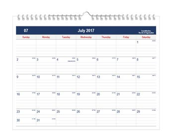 """2017 or 2018 Wall Calendar: 12 Months, Size 11"""" x 8.5"""" - Blue and Red Theme"""