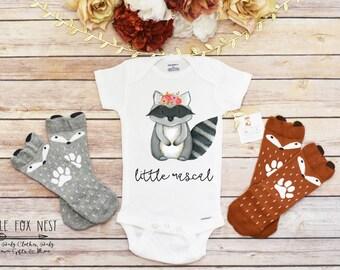 Baby Onesie®, Raccoon Onesie®, Baby Girl Clothes, Little Rascal Onesie®