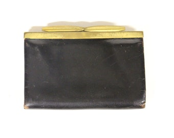 Vintage black wallet with gold-coloured cut