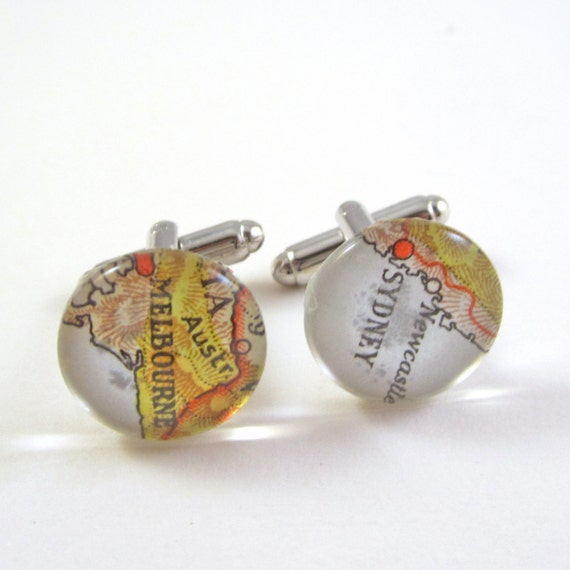 Map cufflinks - Oceania / Australia