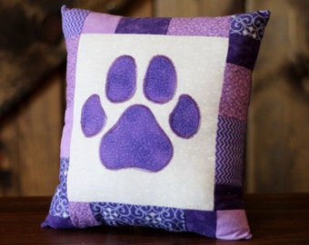 Paw print pillow, small pillow, patchwork pillow