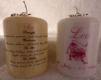 3 Inch - Zodiac Candle with Strengths, Weaknesses, Like & Dislikes - Leo