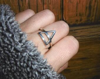 Air Ring, Air Symbol Ring, Alchemy Ring, Esoteric ring, Pyramid ring, Peruvian Silver