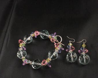 Swarovski Crystal Bracelet And Earrings Set Sterling Silver Bracelet