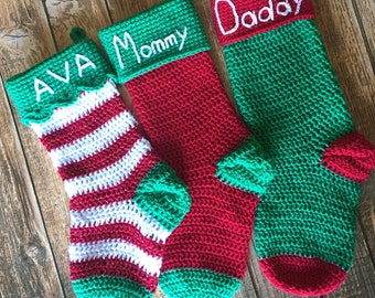 Crochet Christmas Stocking, Christmas Stocking, Christmas Decoration, Custom Christmas Stocking, Personalized Christmas Stocking