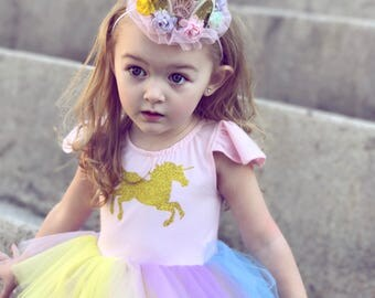 Unicorn Birthday Outfit, Unicorn First Birthday, Unicorn Girl Clothing, Rainbow Unicorn Birthday, Baby Girl Unicorn Dress