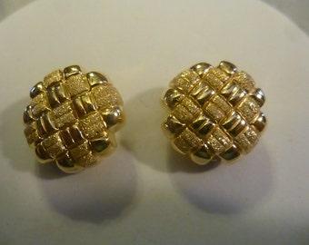 Vintage Italian Gold over  Sterling Clip Earrings