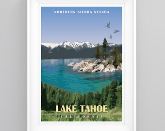 Vintage Travel Poster Lake Tahoe, California Handmade, A4 or A3 size, CUSTOMISABLE