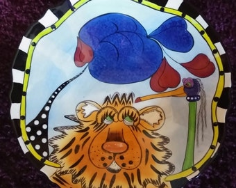 Lynda Corneille SWAK Ceramic Walter the Tiger Large Footed Bowl