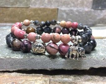 Elephant Buddha bracelet set mala bracelet Larvikitt rhodonite
