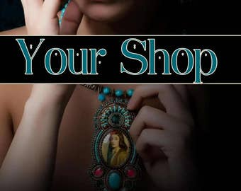 Turquoise Jewelry Banner, Jewelry Banner, Shop Banner Set, Graphic Design, Custom Banner,Banner Design, Cover Photo,  Premade Banner