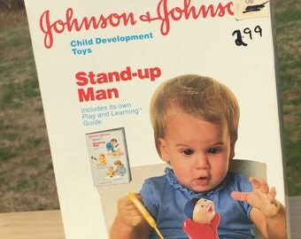Johnson & Johnson Stand-up Man vintage toy in the box