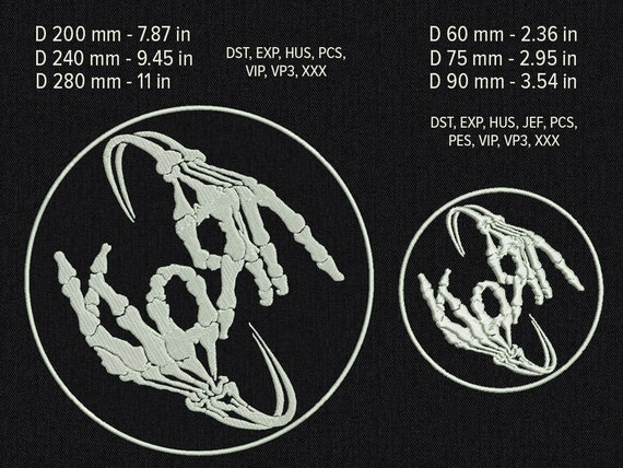 Korn skeleton hands patch - Machine embroidery design - 6 sizes for instant download