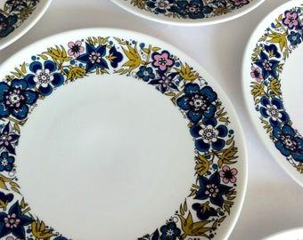 1960's flower power side plates, Royal Tuscan, Nocturne design, Fine bone China.
