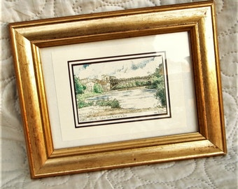 VINTAGE FRENCH PRINT, etchings, 90's prints, french village prints, sw France, Gaillac France, bridge prints, river prints,