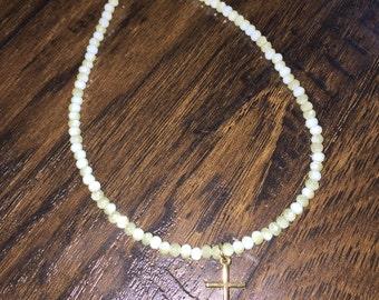 KIDS mint beaded cross necklace