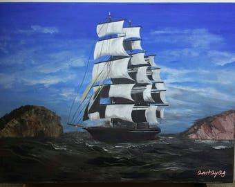 Sailboat Painting Original Acrylic Painting