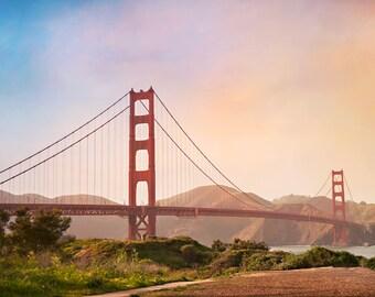 San Francisco Golden Gate Bridge Photograph, Sunset Photo, California Photo, Prints and Canvas available, Home Decor, Art, Large Art,