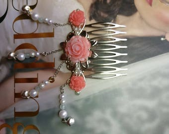 Chinese Sliver and Red Flower Hair Accessories Hair Comb Hair Stick Hair Pin