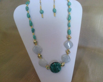 180 Teal Green Lamp worked Glass and Amazonite Gemstone with Teal Green Magnesite Turquoise Nuggets and Gold Tone Cloisonné Beaded Necklace