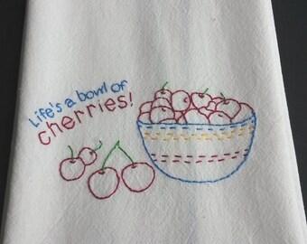 Embroidered cherries tea towel hand embroidered kitchen towel bowl of cherries embroidery cherries kitchen decor