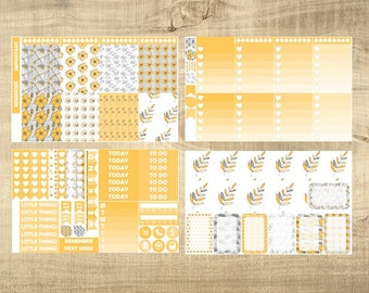 Yellow Floral Weekly Kit for Erin Condren Vertical LifePlanner