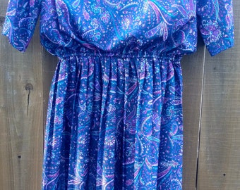 Vintage Floral Paisley Half Shirt Blue Multi Colored Dress 14 P