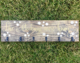 """The Stockings Were Hung Wooden Christmas Stocking Holder Wooden Sign -  26"""" White and Gold"""