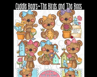 Cuddle Bears-The Birds and the Bees planner sticker clipart Personal and small commercial use ok