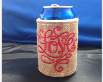 LOVE Burlap Can or Water Bottle Wrap