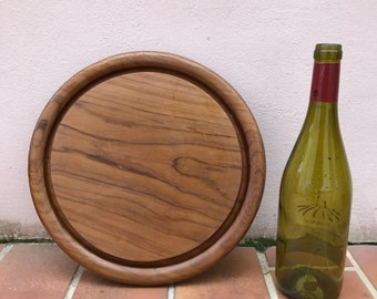 ANTIQUE VINTAGE FRENCH bread or chopping cutting board wood round 364