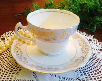 Balfour Royal Crown Pottery fine bone china teacup and saucer
