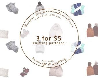 Knitting Pattern Bundle - Choose any 3 // Knitting Pattern Savings // Knitting Project Inspiration // Patterns for Beginners