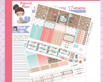 E Planner Cupcake Weekly Stickers #39