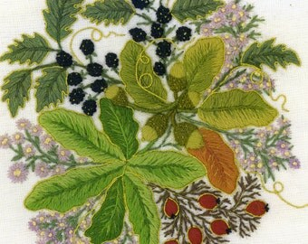 Autumn Fruits- a crewel embroidery kit